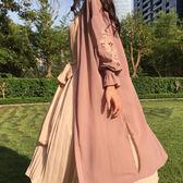 夏裝2018新款女刺繡喇叭袖雪紡衫中長款上衣寬鬆防曬風衣開衫外套禮物限時八九折