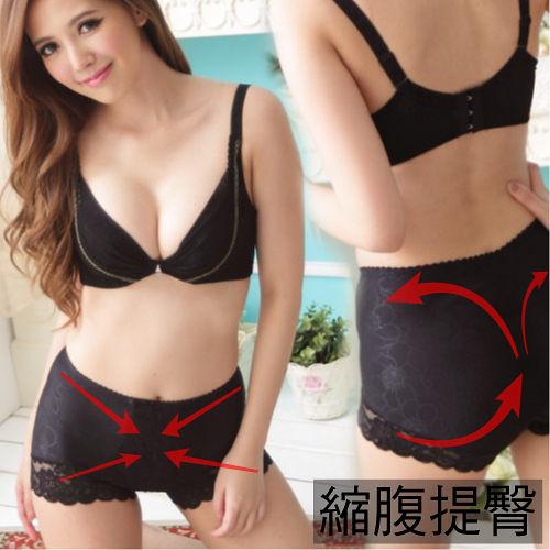 縮腹提臀 高彈力中腰蕾絲修飾塑褲 M-Q (黑色)-伊黛爾