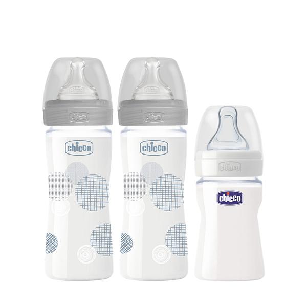 【2大1小超值組】chicco-舒適哺乳-防脹氣玻璃奶瓶240ml(小單孔)x2入顏色可選 +(加贈150ml(小單孔)