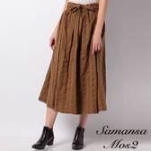 ❖ Winter ❖ 腰際綁帶條紋棉麻中長裙 (提醒➯SM2僅單一尺寸) - Sm2