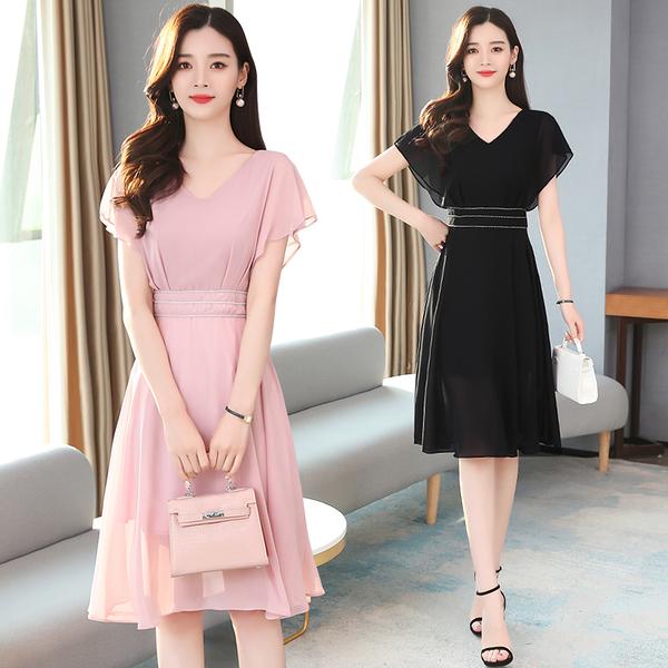 出清388 韓國風雪紡收腰優雅顯瘦氣質輕熟風短袖洋裝