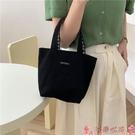 手提包2021清新雙面格子包兩用帆布包手提袋女學生媽咪包手拎飯盒便當包 芊墨