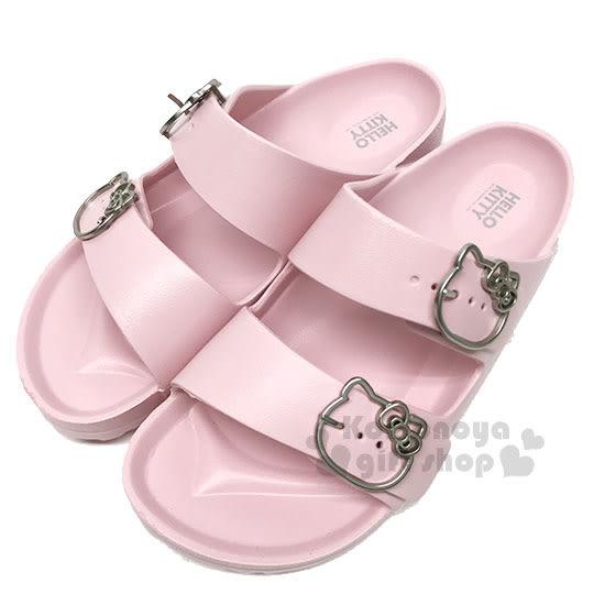 〔小禮堂〕Hello Kitty 雙帶勃肯拖鞋《粉.銀簍空大臉》涼鞋.海灘拖 3086951-3903_
