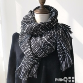 時髦優雅編織風格仿羊絨圍巾女冬季韓版百搭純潔白色長款披肩兩用  (pink Q時尚女裝)