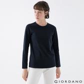 【GIORDANO】女裝素色圓領長袖T恤 - 15 標誌藍