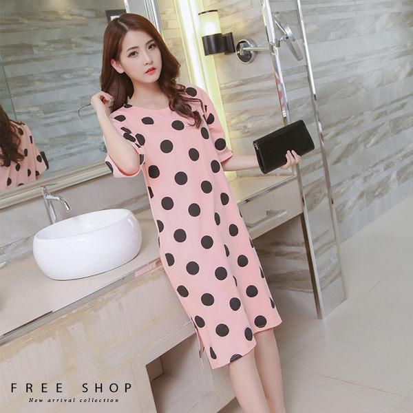 [現貨]春夏純棉可愛點點寬鬆居家洋裝 連身裙上衣寬長版T 粉紅色點點 小中大尺碼【QZZZ1067】
