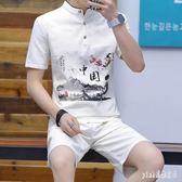 中大尺碼唐裝男夏季青年復古中式服裝短袖居士服中國風佛系古風男裝漢服 aj12902『pink領袖衣社』