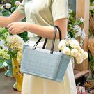 新款購物籃手提包臟衣籃洗衣籃女士麻布紋收納籃塑料買菜籃 LR9876【原創風館】