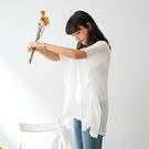 【慢。生活】微透亞麻感蝙蝠袖垂墜罩衫 9830 FREE白色