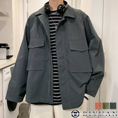 【OBIYUAN】夾克 印花 翻蓋口袋 開衩 抽繩 長袖外套 共3色【FJSSW29】