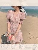 洋裝SHOW AMIU 滕雨佳莊園假日碎花裙法式復古風,領口紐扣可打開 町目家