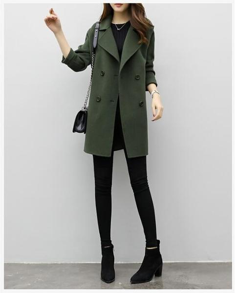 【葉子小舖】韓版中長款毛呢大衣/秋冬新款/西裝領/連肩袖/插肩袖/顯瘦板型