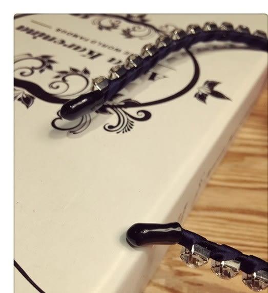 髮篐 髮飾  鑲鑽蝴蝶結高檔綢緞髮篐  現貨  G40