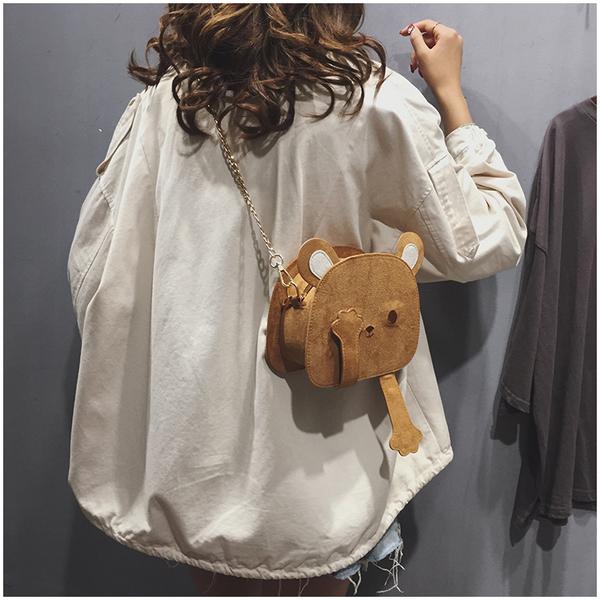 秋冬季包包女包2020新款可愛網紅小熊包錬條單肩斜背包日系小挎包  牛轉好運到
