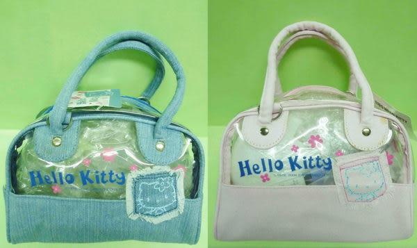 【震撼精品百貨】Hello Kitty 凱蒂貓~透明小手提袋-牛仔『藍/粉』(共兩款)