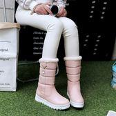 雪靴 松糕厚底平底帶毛毛加絨加厚雪靴棉鞋 631-001巴黎春天