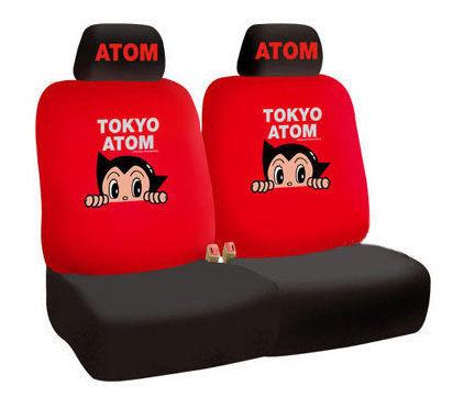 車之嚴選 cars_go 汽車用品【AB-05002】原子小金剛 東京珍藏版 汽車前座椅套(2入) 紅色