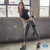壓力褲薄款運動緊身褲女正韓打底褲健身速幹高彈外穿跑步瑜伽九分長褲
