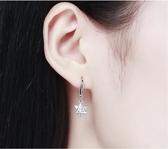 s925銀簡約三角形耳環女時尚氣質鑲鑚星星耳釘銀耳飾品