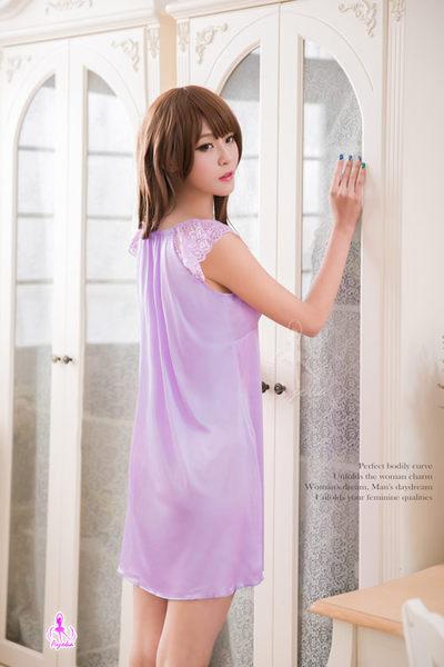 甜美紫羅蘭小蓋袖柔緞睡衣 (OS小舖)