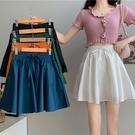 BOBO小中大尺碼【88182】夏季薄款A字半身裙百褶短褲裙 共2色 現貨