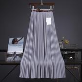 長裙 2021春夏新款純色雪紡中長款百褶大擺飄逸垂感半身裙長裙沙灘裙