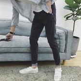 秋季百搭哈倫褲加絨牛仔褲男潮流小腳修身型韓版學生彈力顯瘦 韓小姐