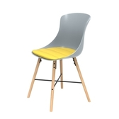 (組)特力屋萊特塑鋼椅-櫸木腳架30mm+灰椅背+黃座墊