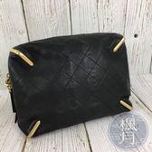 BRAND楓月 CHANEL 香奈兒 23開 金邊裝飾 伸縮造型 黑色 菱格紋 小包 化妝包 手拿包