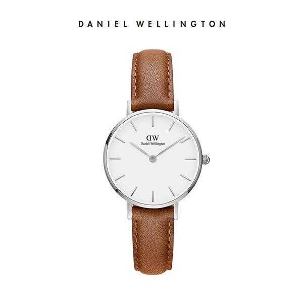 DW 手錶 官方旗艦店 28mm銀框 Classic Petite 淺棕真皮皮革 - Daniel Wellington