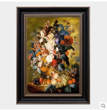 裝飾畫歐式壁畫復古掛畫客廳油畫三聯畫沙發背景牆牆畫有框畫ZH