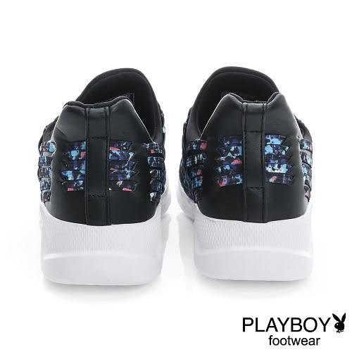PLAYBOY 彩織炫風 時尚彈力彩編休閒鞋-藍彩(女)