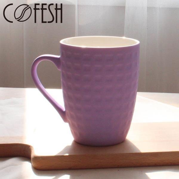 【南紡購物中心】COFESH 時尚半手作粉紫雙色漸層馬克杯350ml MUG-35-PP