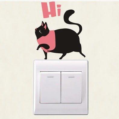 壁貼 貴婦貓 開關貼 無痕壁貼 創意壁貼 家電貼櫥櫃 玻璃貼 牆貼 紙【A1009】