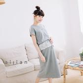 愛戀小媽咪 正韓 孕婦裝 挖肩蕾絲袖腰抽繩拼接蕾絲洋裝
