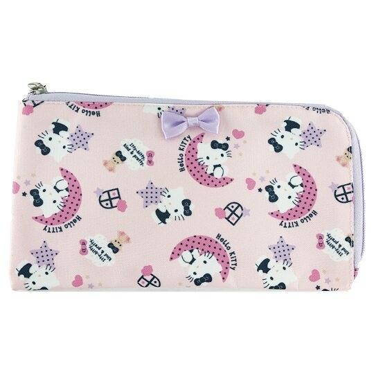 小禮堂 Hello Kitty 尼龍口罩包 附口罩 口罩夾 口罩套 小物包 (粉紫 滿版) 4550337-14829