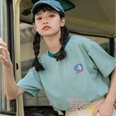 印花短袖t恤女寬松韓版日系上衣學生【聚可愛】