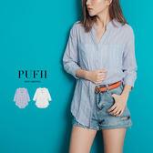 PUFII-襯衫 簡約直條紋棉麻襯衫上衣罩衫 2色-0517 現+預 夏【CP14630】