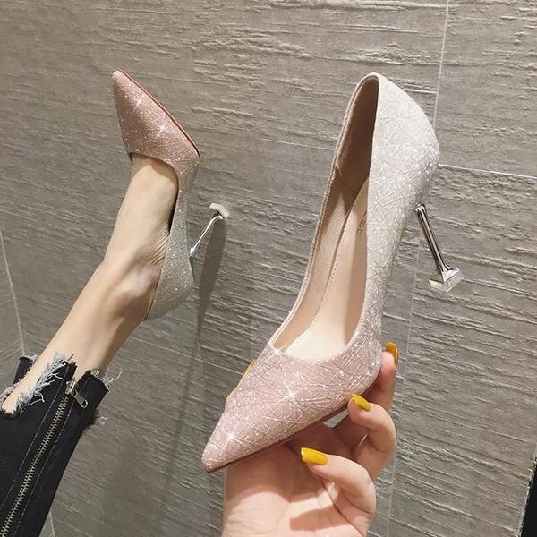 法式高跟鞋女2021年新款春秋婚鞋新娘鞋十八歲細跟設計感小眾氣質 艾瑞斯AFT「快速出貨」