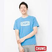 CHUMS 日本 男 LOGO 短袖T恤 藍 CH011324A001
