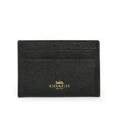 【COACH】素面皮革卡夾/名片夾(黑色)F57312 IMBLK