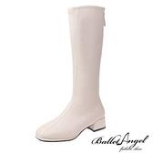 長靴 絕對品味車線方頭長筒跟靴(米)*BalletAngel【18-9991mi】【現+預】