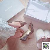 細跟高跟鞋 婚鞋女2018新款尖頭高跟鞋女細跟亮片水晶中跟伴娘單鞋銀色新娘鞋 霓裳細軟