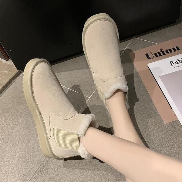 雪地靴女 雪地靴女2020冬季新款防水防滑皮毛一體加絨松糕加厚東北短筒短靴