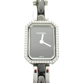 CHANEL 香奈兒 黑色陶瓷不鏽鋼鑲鑽石英腕錶 Premiere Mini S H2163 【BRAND OFF】
