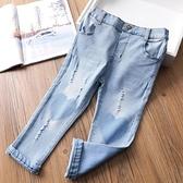 女童牛仔褲 柔軟卡通貼布女童牛仔褲 春寶寶彈力小腳褲修身舒適長褲-Ballet朵朵