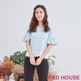 【RED HOUSE 蕾赫斯】條紋蕾絲上衣(共2色)