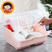 歐式塑料碗柜廚房放碗架帶蓋瀝水碗筷收納盒放碟架滴水碗盆置物架  易貨居