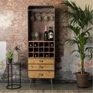 紅酒櫃 紅酒櫃實木做舊工業風鐵藝餐邊櫃復古儲物櫃酒水杯美式靠牆洋灑櫃 夢藝家