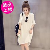 【9096-0710】長款V領寬鬆襯衫連身裙 (黑/白) M/L/XL